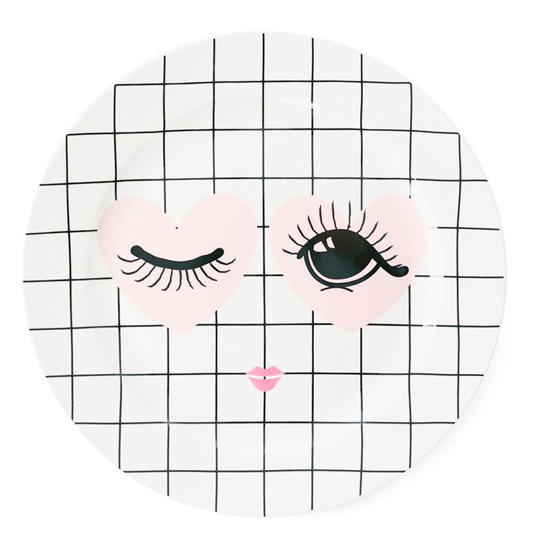 Белая тарелка Miss Etoile Heart and eyes 25см