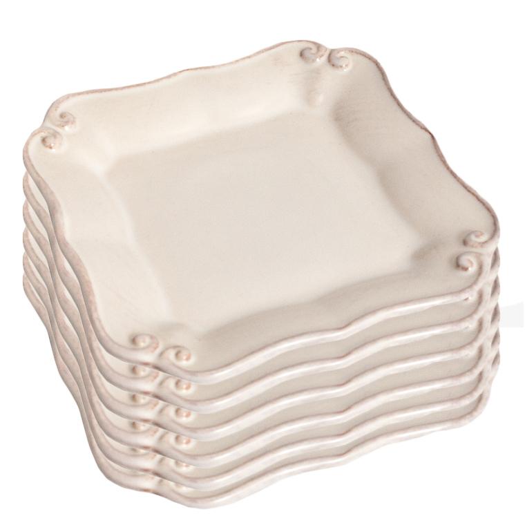 Набор из 6 тарелок Costa Nova Barroco белого цвета 14х14см