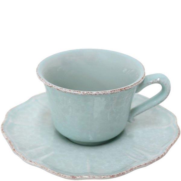 Набор из 6 чайных чашек с блюдцами Costa Nova Impressions голубого цвета