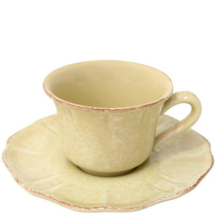 Чайная чашка с блюдцем Costa Nova Impressions из желтой керамики