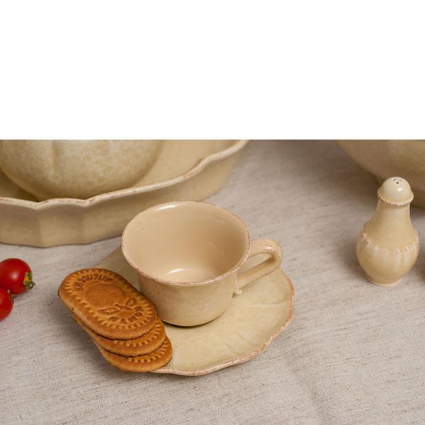 Набор чашка с блюдцем 6 шт Costa Nova Impressions бежевого цвета
