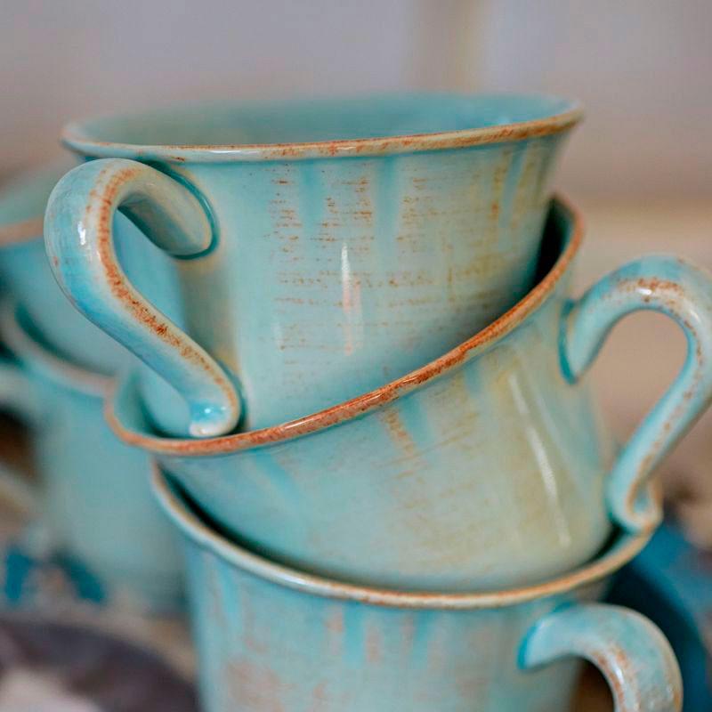 Кофейная чашка с блюдцем Costa Nova Impressions из голубой керамики