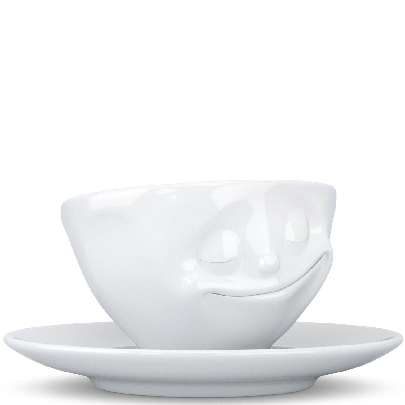 Чашка с блюдцем Tassen Happy белого цвета для эспрессо и макиато