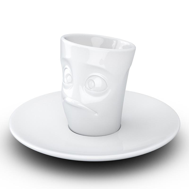 Белая чашка Tassen Baffled с блюдцем