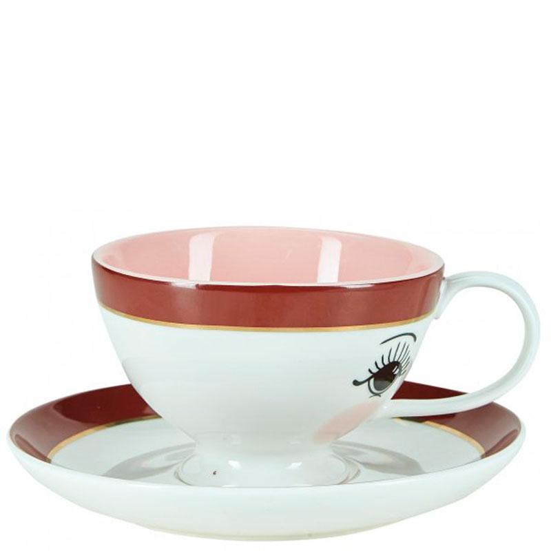 Чашка с блюдцем Miss Etoile с принтом-глазами