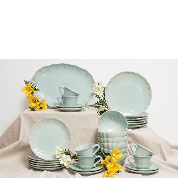 Набор из 6 десертных тарелок голубого цвета Costa Nova Alentejo 21см