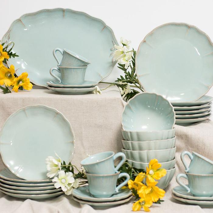 Тарелка обеденная Costa Nova Alentejo бирюзового цвета 27см