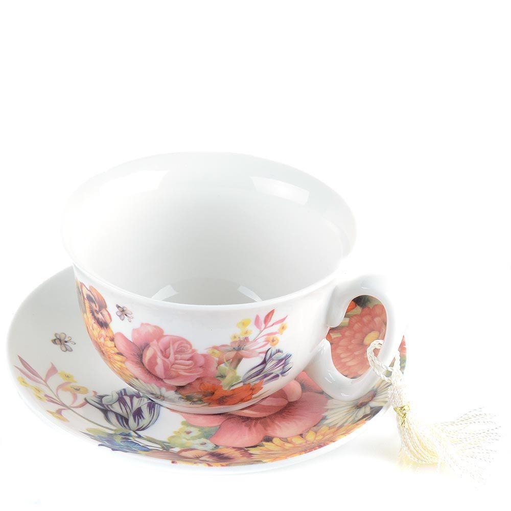 Чайная пара Brivogue из фарфоровых чашки и блюдца с цветами