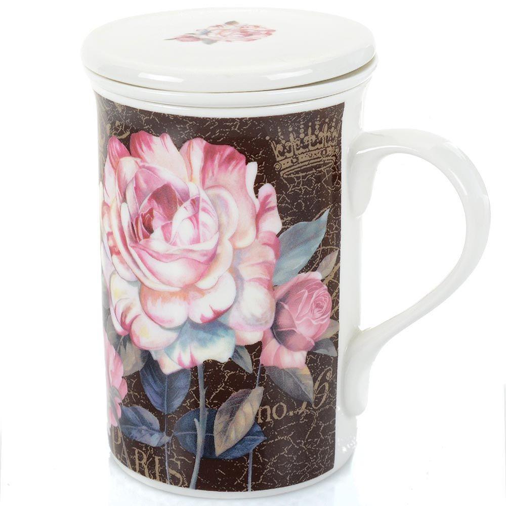 Чашка Brivogue фарфоровая с заварочным фильтром и крышкой