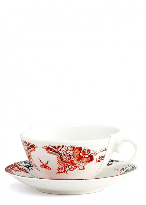 Чайная чашка с блюдцем Seletti Hybrid Zora из фарфора, фото