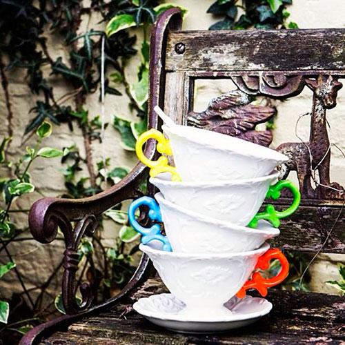 Чашка Seletti I-Tea с блюдцем и ложкой зеленая, фото