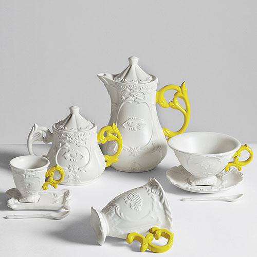 Кофейная чашка Seletti Coffee с блюдцем и ложкой желтая, фото