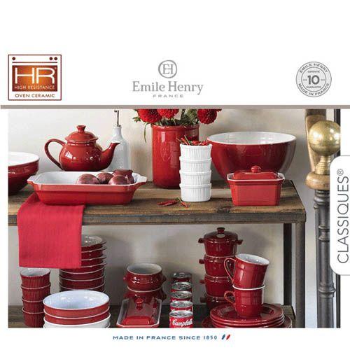 Тарелка для супа Emile Henry Classique Cerise 550 мл бело-красная, фото