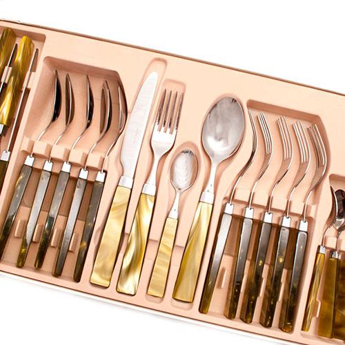 Набор столовых приборов на 6 персон Rivadossi Charme оливкового цвета, фото