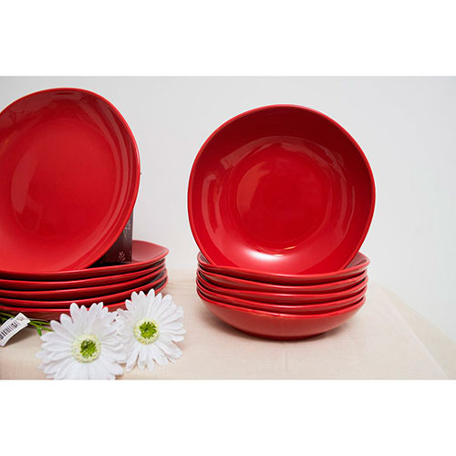 Набор тарелок для супа Comtesse Milano Ritmo из керамики красного цвета, фото