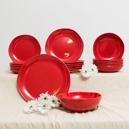 Десертная тарелка Comtesse Milano Ritmo из красной керамики, фото