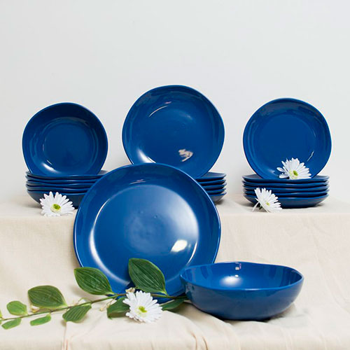 Набор тарелок для супа Comtesse Milano Ritmo синего цвета на 6 персон, фото