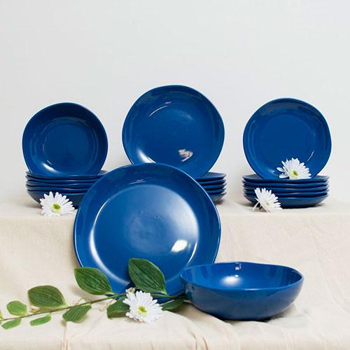 Набор обеденных тарелок Comtesse Milano Ritmo синего цвета на 6 персон, фото