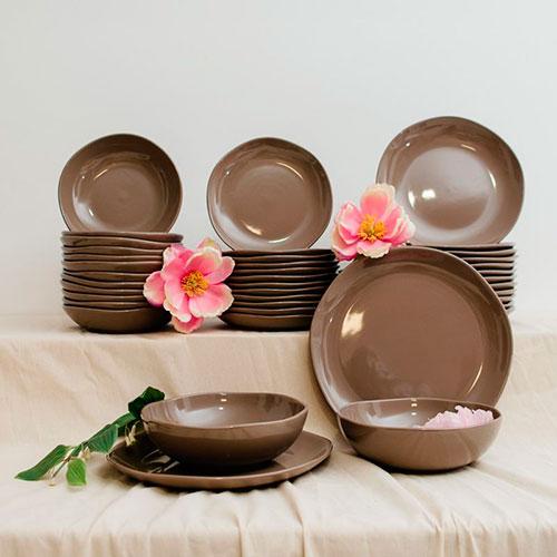 Тарелки для супа Comtesse Milano Ritmo коричнево-серого цвета 6шт, фото