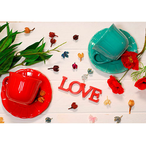 Чашка для чая с блюдцем Comtesse Milano Ritmo бирюзового цвета, фото