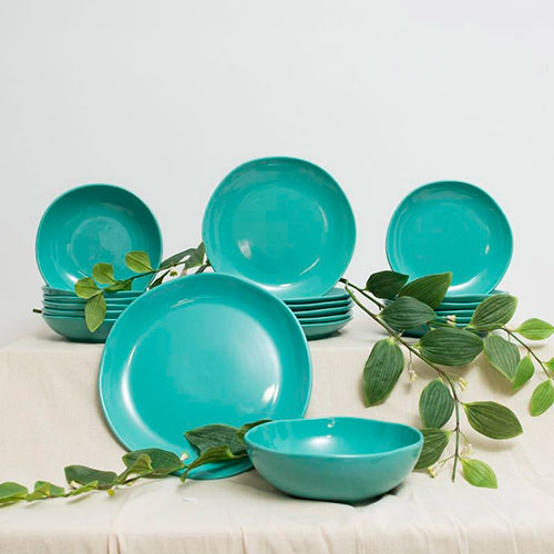 Тарелка для супа Comtesse Milano Ritmo бирюзового цвета, фото