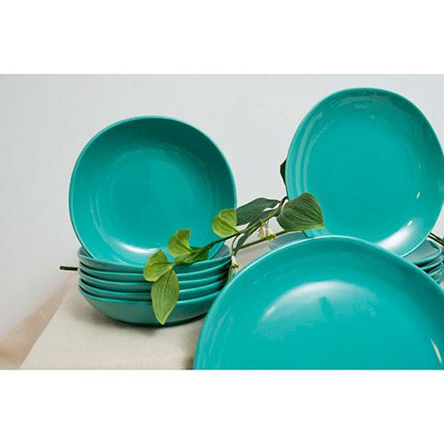Набор тарелок для супа Comtesse Milano Ritmo бирюзового цвета на 6 персон, фото