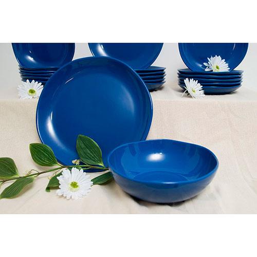 Круглое блюдо Comtesse Milano Ritmo из керамики синего цвета, фото
