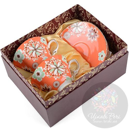 Чайный набор Pavone Антонелла на 2 персоны в оранжево-коричневых тонах, фото