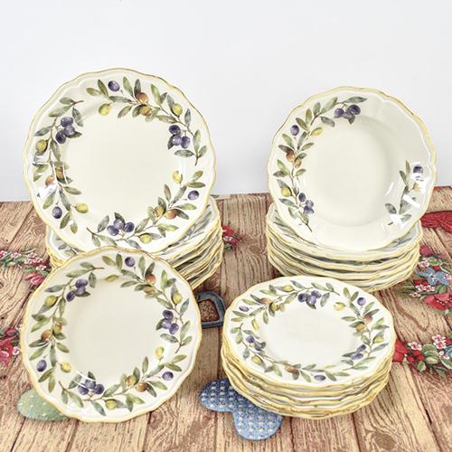 Набор обеденных тарелок Villa Grazia Оливы и маслины на 6 персон, фото