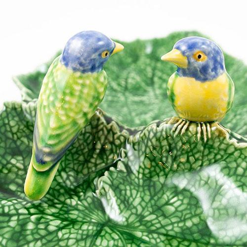 Менажница двойная Bordallo Pinheiro Листики с птицами, фото