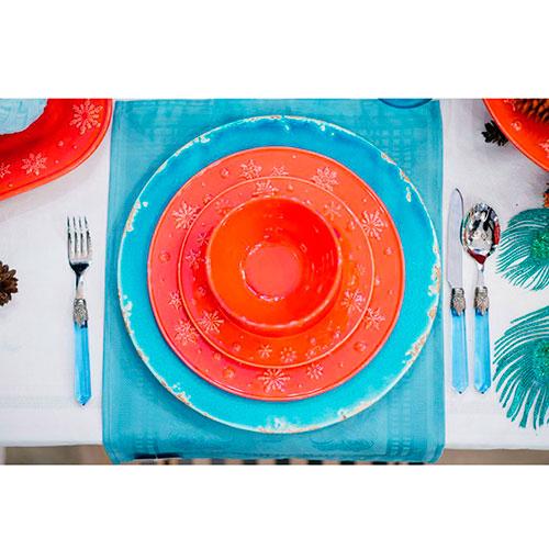 Обеденная тарелка Bordallo Pinheiro Снежинки красного цвета 28x2,5см, фото