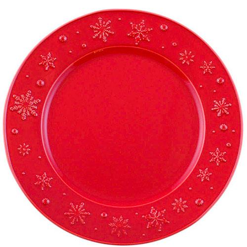 Тортовница Bordallo Pinheiro Снежинки красного цвета, фото
