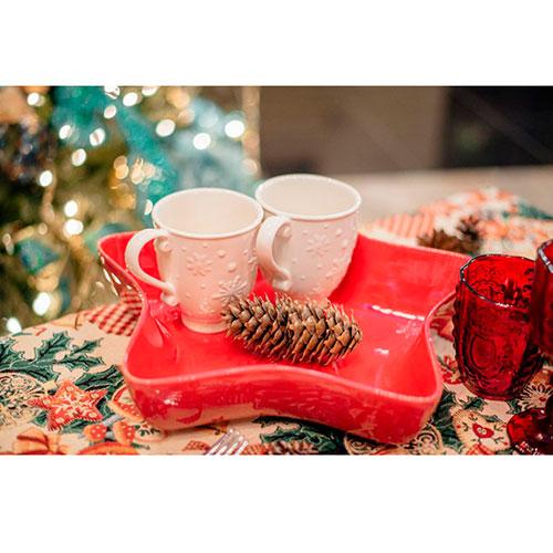 Керамическая чашка Bordallo Pinheiro Снежинки белого цвета, фото