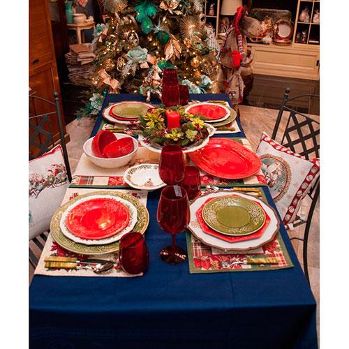 Набор десертных тарелок красного цвета Bordallo Pinheiro Зима на 6 персон 22,2см, фото