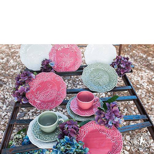 Обеденная тарелка Bordallo Pinheiro Артишок и птица бордового цвета, фото