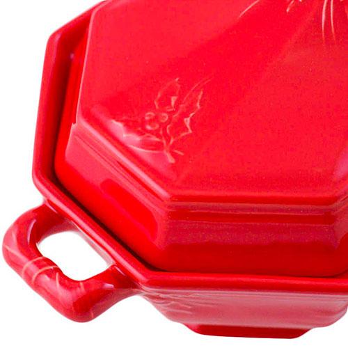 Супница с крышкой Bordallo Pinheiro Зима красного цвета 3,5л, фото