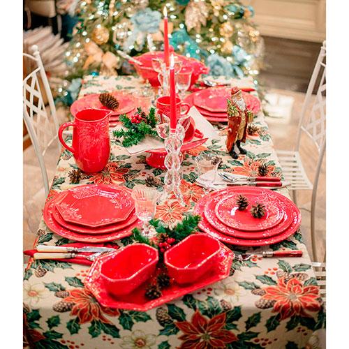 Красное блюдо Bordallo Pinheiro Зима, фото