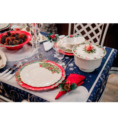Конфетница с крышкой Bordallo Pinheiro Рождественская гирлянда белого цвета, фото
