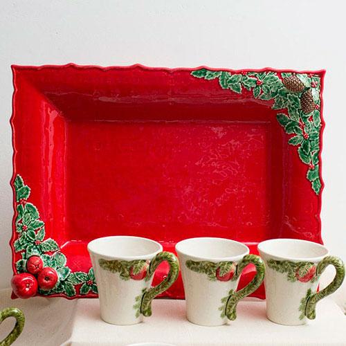 Блюдо Bordallo Pinheiro Рождественская гирлянда красного цвета 50см, фото
