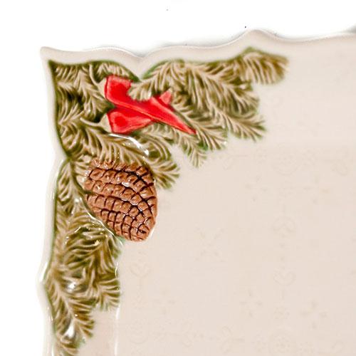 Керамическое блюдо Bordallo Pinheiro Рождественская гирлянда белого цвета 43x18,5см, фото