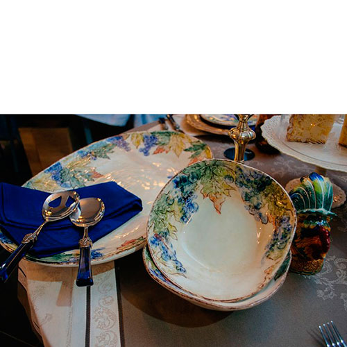 Набор приборов для салата Rivadossi Syrah с синими ручками, фото