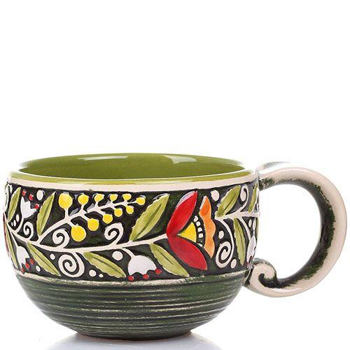 Набор из 2 чашек Manna Ceramics ручной работы зеленого цвета с цветами 300 мл, фото