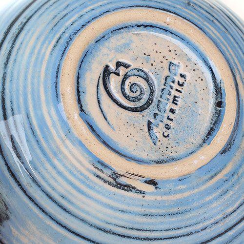 Набор из 2 чашек Manna Ceramics голубого цвета ручной работы разрисованная белой глазурью 300 мл, фото