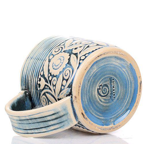 Набор из 2 кружек Manna Ceramics голубого цвета с флористической росписью 400 мл, фото