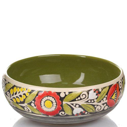 Набор из 2 пиал Manna Ceramics оливкового цвета с красными цветами 500 мл, фото