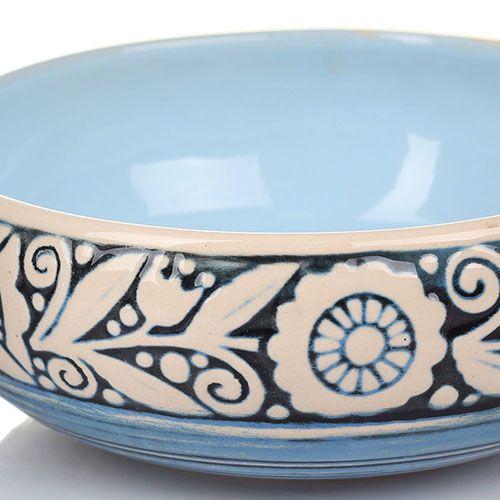 Набор из 2 пиал Manna Ceramics голубая с цветочным орнаментом белого цвета 500 мл, фото