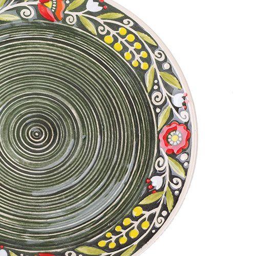 Набор из двух тарелок Manna Ceramics ручной работы зеленого цвета c расписной каймой 21 см, фото