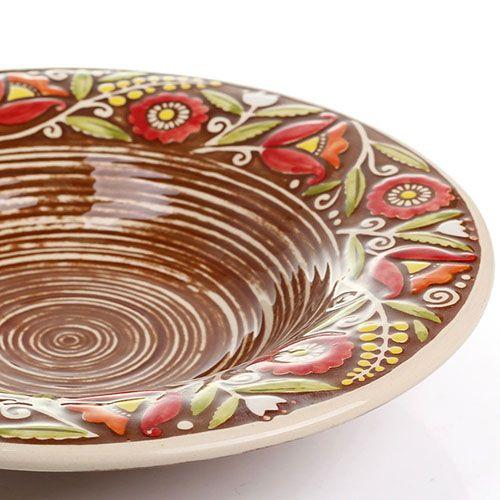 Набор из двух суповых тарелок Manna Ceramics коричневого цвета с ручной росписью 24 см, фото