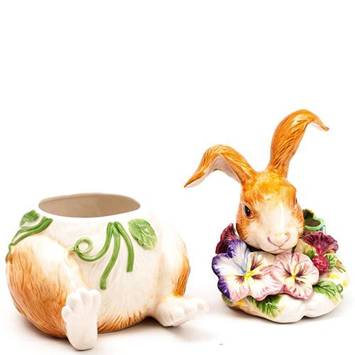 Емкость для печенья Fitz and Floyd Кролик с цветами, фото