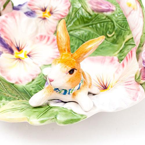 Фруктовница Fitz and Floyd в виде корзинки с кроликом, фото